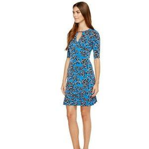 Taylor floral trumpet hem midlength blue dress •6•